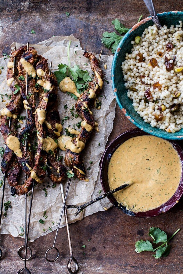 Indian Style Beef Satay with Curried Cashew Sauce   halfbakedharvest.com @hbharvest