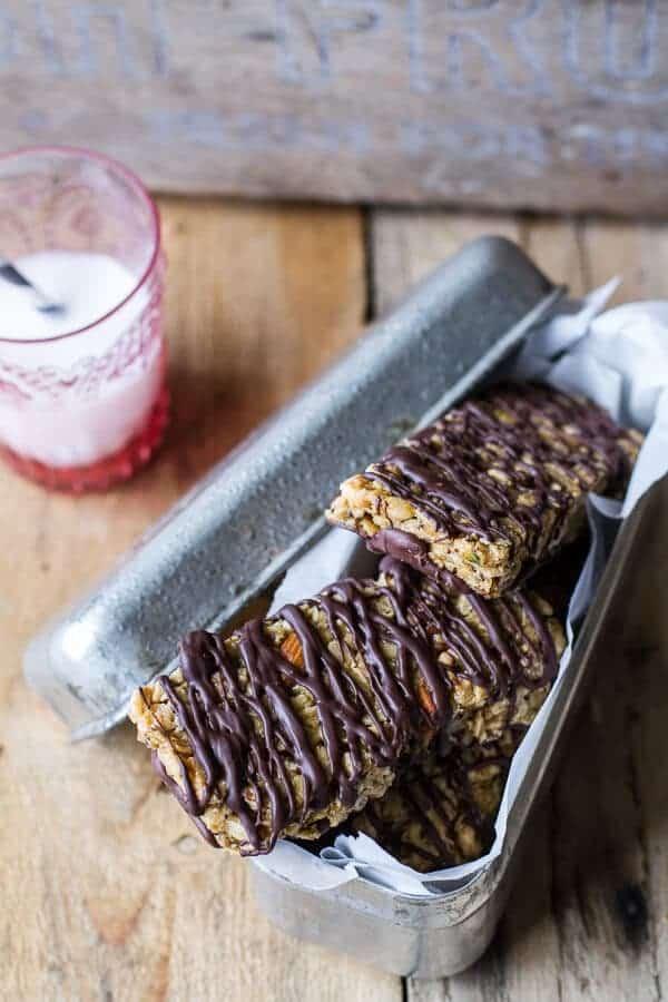 Milk Chocolate Dipped Zucchini Granola Bars | halfbakedharvest.com @hbharvest