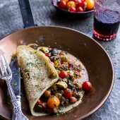 Rava Dosa (Indian Crepes) with Summer Squash + Tomato Chickpea Masala.-1
