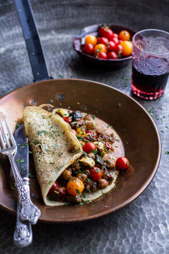 Rava Dosa (Indian Crepes) with Summer Squash + Tomato Chickpea Masala.-1