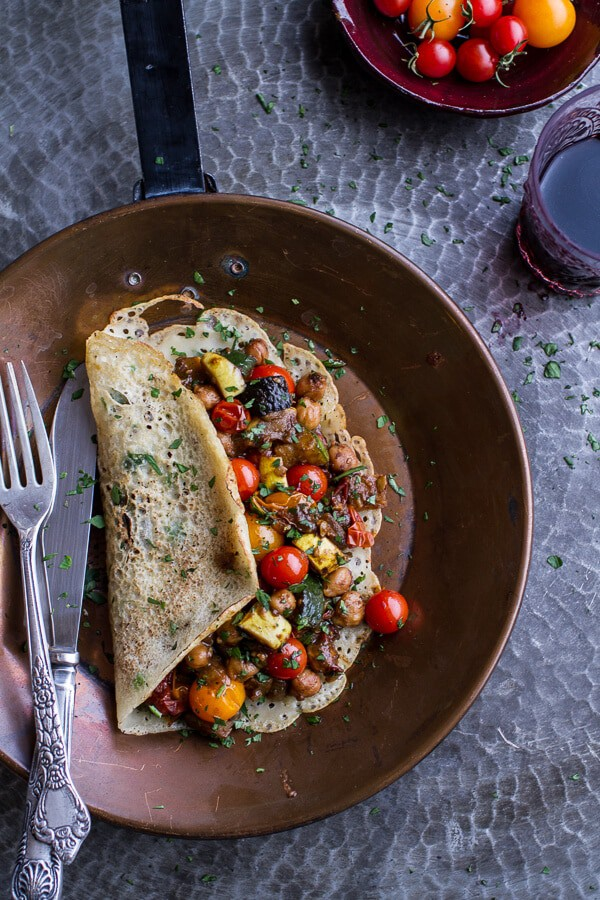Rava Dosa (Indian Crepes) with Summer Squash + Tomato Chickpea Masala | halfbakedharvest.com @hbharvest