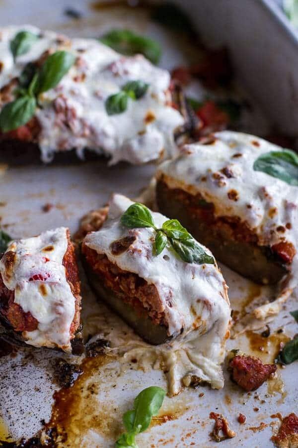 Roasted Garlic Eggplant Lasagna Boats w-Spicy Italian Chicken Sausage | halfbakedharvest.com @hbharvest