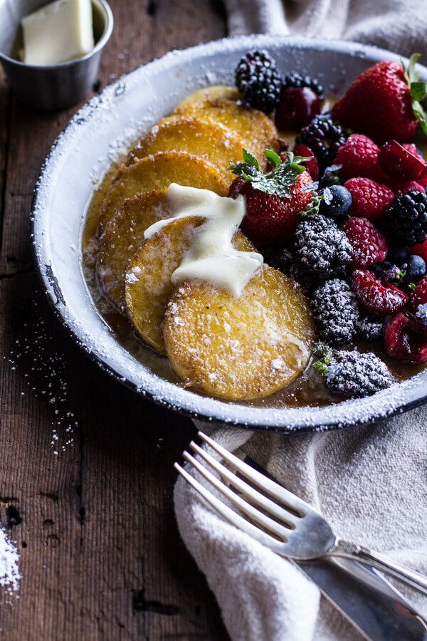 Sweet Buttered Polenta Pancakes with Fresh Summer Berries | halfbakedharvest.com