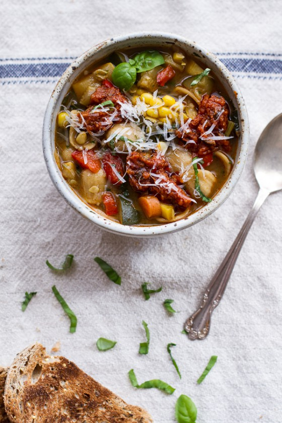 Tuscan Summer Minestrone with Sun-Dried Tomato Pesto-1