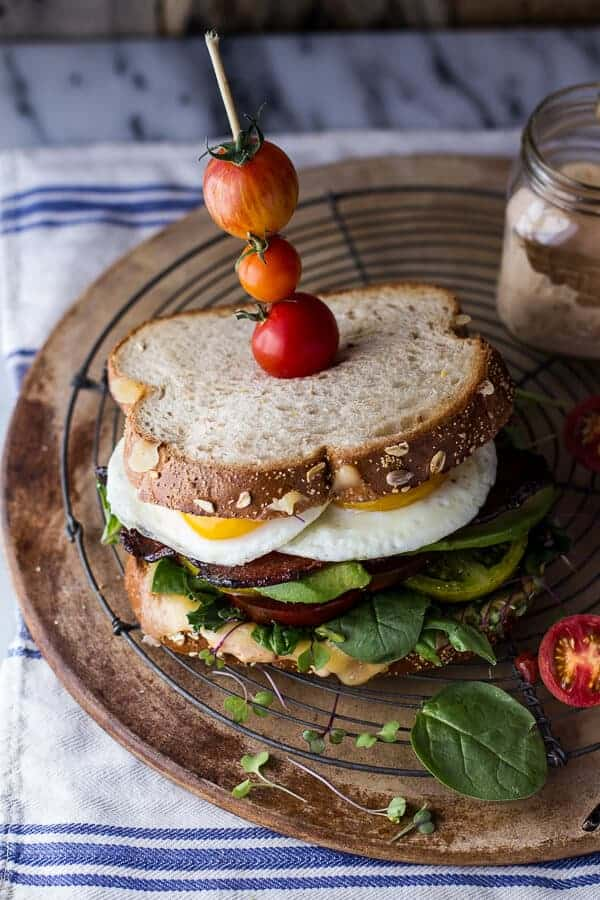 Bourbon Caramelized Bacon and Heirloom Tomato BLT w/Fried Eggs + Smoked Gouda | halfbakedharvest.com @hbharvest