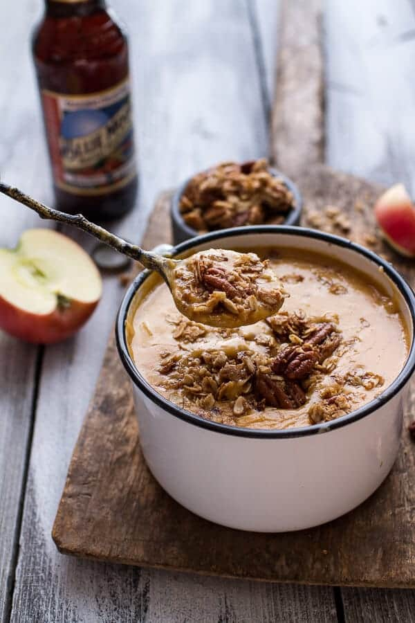 Brie + Cheddar Apple Beer Soup with Cinnamon Pecan Oat Crumble | halfbakedharvest.com @hbharvest