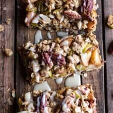 Brown Butter Caramelized Apple Crisp Bars w/ Pecan Streusel + Mascarpone Maple Glaze.