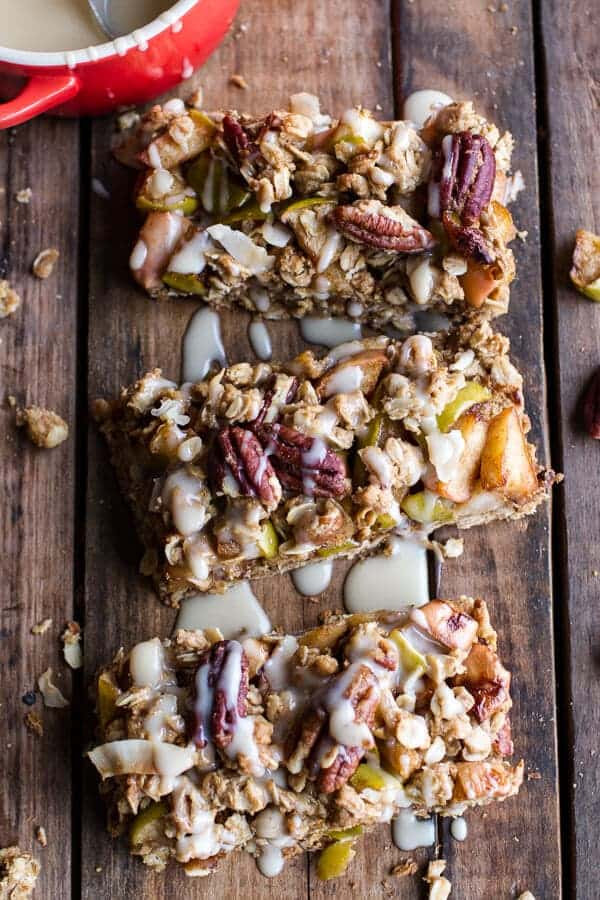 Brown Butter Caramelized Apple Crisp Bars w-Pecan Streusel + Mascarpone Maple Glaze | halfbakedharvest.com @hbharvest