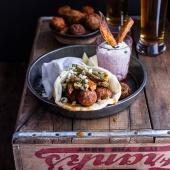 Buffalo Falafel Pitas w-Garlic Blue Cheese Fries + Ranch Style Tzatziki-1