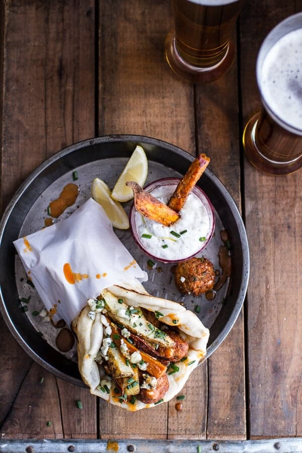 Buffalo Falafel Pitas w-Garlic Blue Cheese Fries + Ranch Style Tzatziki | halfbakedharvest.com @hbharvest