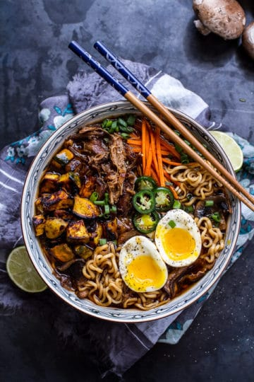 Crockpot Crispy Caramelized Pork Ramen Noodle Soup w/Curry Roasted Acorn Squash.