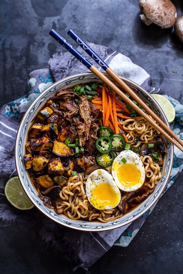 Crockpot Crispy Caramelized Pork Ramen Noodle Soup w/Curry Roasted Acorn Squash