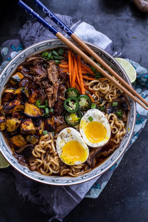 Crockpot Crispy Caramelized Pork Ramen Noodle Soup w-Curry Roasted Acorn Squash| halfbakedharvest.com @hbharvest