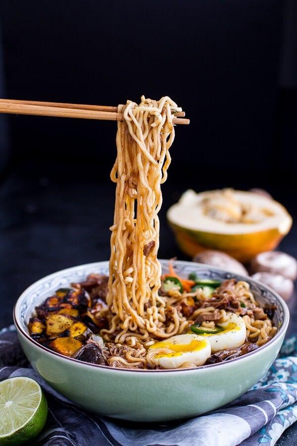 Crockpot Crispy Caramelized Pork Ramen Noodle Soup w-Curry Roasted Acorn Squash | | halfbakedharvest.com @hbharvest