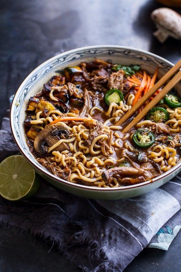 Crockpot Crispy Caramelized Pork Ramen Noodle Soup W Curry Roasted Acorn Squash Halfbakedharvest