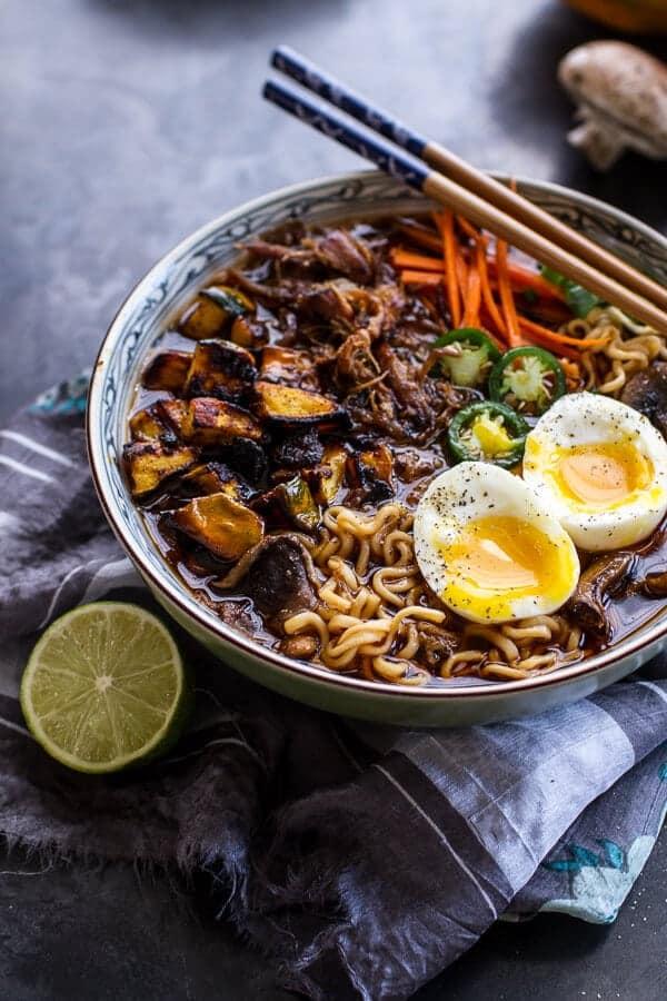 Crockpot Crispy Caramelized Pork Ramen Noodle Soup w/Curry Roasted Acorn Squash| halfbakedharvest.com @hbharvest
