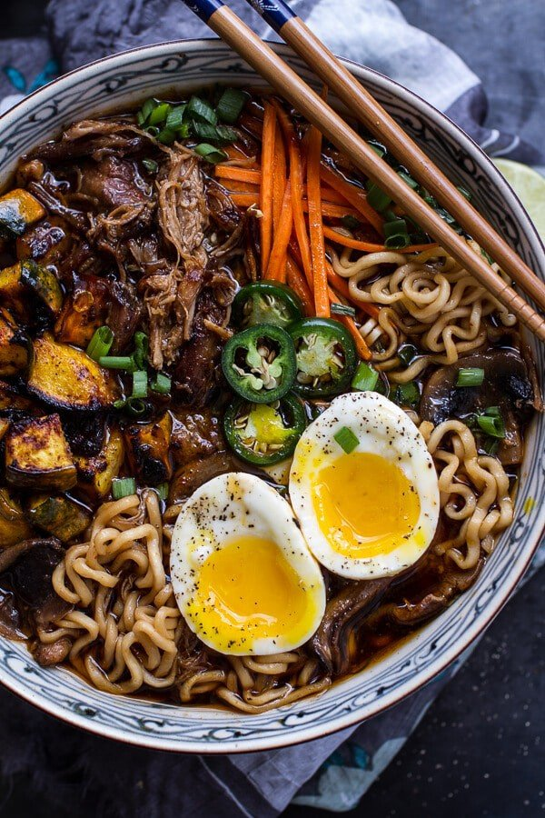 Crockpot Caramelized Pork Ramen Noodle Soup w/Curry Roasted Acorn Squash