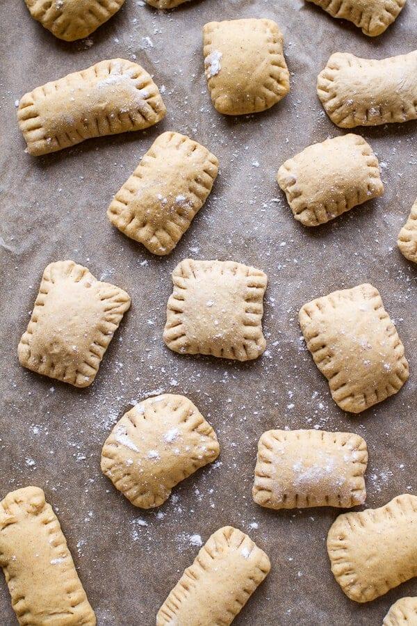 Mini Cream Cheese Stuffed Cinnamon Sugar Pumpkin Bagel Poptarts | halfbakedharvest.com @hbharvest