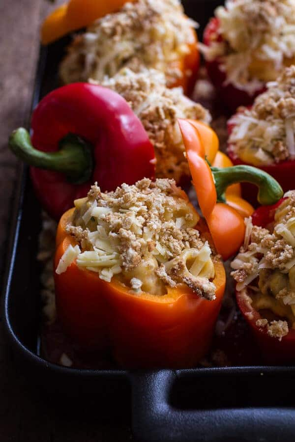 Mini Italian Meatball Mac and Cheese Stuffed Peppers | halfbakedharvest.com @hbharvest