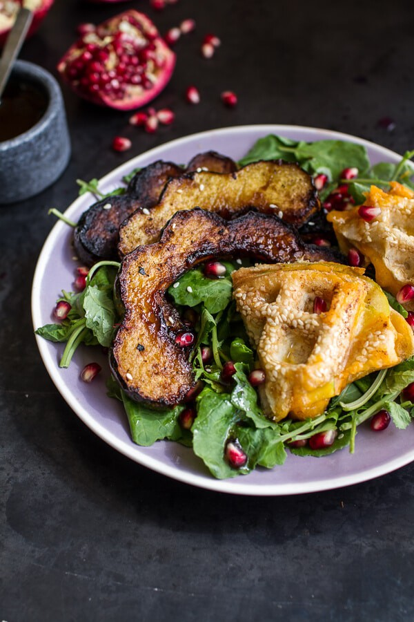 Miso Roasted Acorn Squash + Pomegranate Salad w/Waffled Cheddar Apple Tahini Grilled Cheese Triangles | halfbakedharvest.com @hbharvest