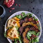 Miso Roasted Acorn Squash + Pomegranate Salad w-Waffled Cheddar Apple Tahini Grilled Cheese Triangles.-1