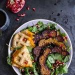 Miso Roasted Acorn Squash + Pomegranate Salad w/Waffled Cheddar Apple Tahini Toast.