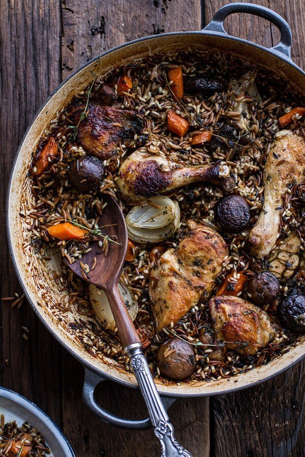 One-Pot Autumn Herb Roasted Chicken with Butter Toasted Wild Rice Pilaf |halfbakedharvest.com @hbharvest