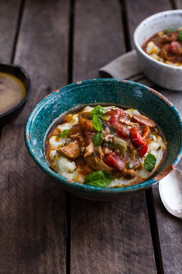 Quick Gumbo with Grilled Corn Grits + Smoky Chilied Brown Butter ...