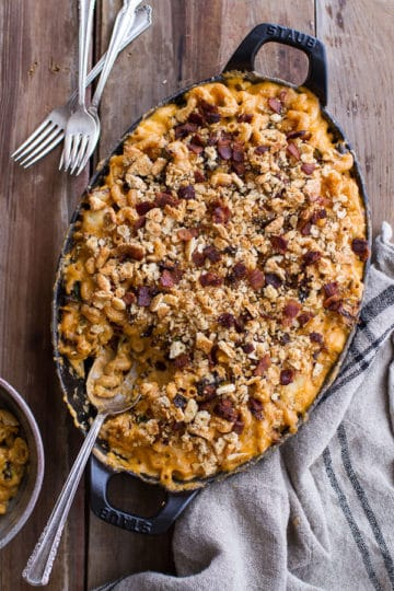 Butternut Squash + Brussels Sprouts Mac n' Cheese with Buttery Bacon Ritz Crackers.