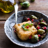 Cheesy Fried Polenta w-Pan Roasted Balsamic Brussels Sprouts + Roasted Garlic Sage Oil-1