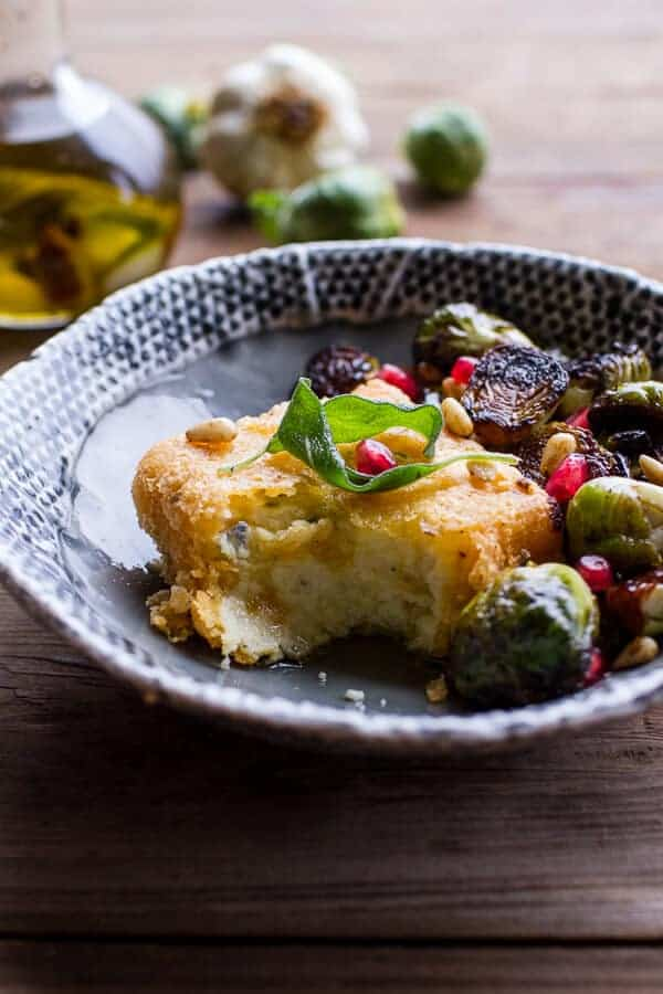 Cheesy Fried Polenta w-Pan Roasted Balsamic Brussels Sprouts + Roasted Garlic Sage Oil | halfbakedharvest.com @hbharvest