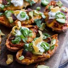 Chicken Chili Con Carne Stuffed Sweet Potato Skins + Links to Inspire.