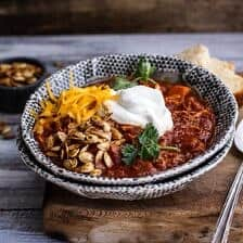 Crockpot Chipotle Pulled Pork Pumpkin Chili w/Cinnamon Roasted Pumpkin Seeds.
