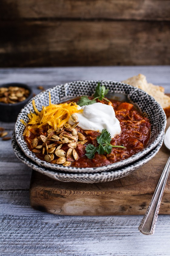 Crockpot Chipotle Pulled Pork Pumpkin Chili w-Cinnamon Roasted Pumpkin Seeds.-1