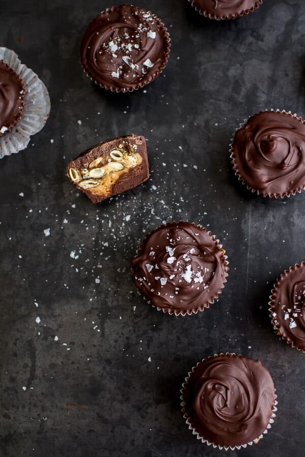 Mini Chocolate Pumpkin Seed Candy Peanut Butter Cups | halfbakedharvest.com @hbharvest