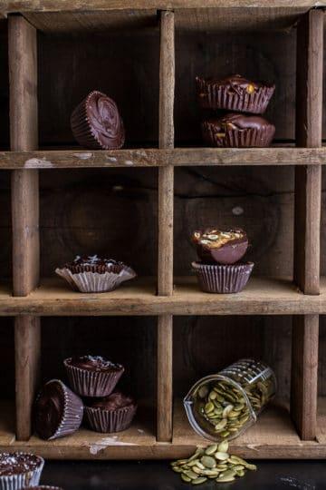 Mini Chocolate Pumpkin Seed Candy Peanut Butter Cups.