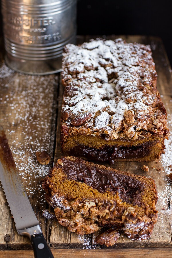 Molten Chocolate Pumpkin Streusel Bread...heavy on the Chocolate + Streusel | halfbakedharvest.com @hbharvest