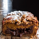 Molten Chocolate Pumpkin Streusel Bread…heavy on the Chocolate + Streusel.