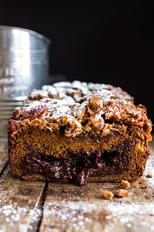 Molten Chocolate Pumpkin Streusel Bread...heavy on the Chocolate + Streusel | halfbakedharvest.com @hbharvest