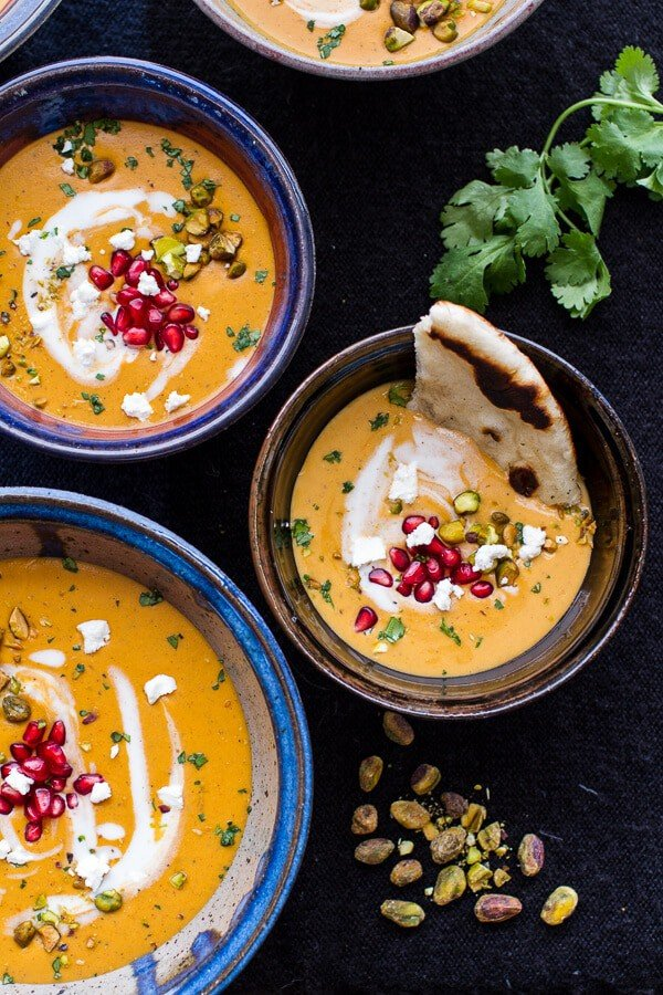 Moroccan Butternut Squash and Goat Cheese Soup w-Coconut Ginger Cream + Pistachios |halfbakedharvest.com @hbharvest