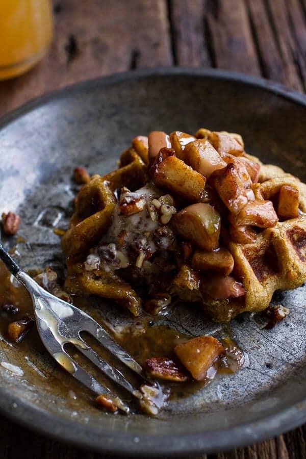 Overnight Cider Pumpkin Waffles w/Toasted Pecan Butter, Cider Syrup + Spiced Apples | halfbakedharvest.com @hbharvest
