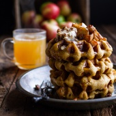 Overnight Cider Pumpkin Waffles w-Toasted Pecan Butter, Cider Syrup + Spiced Apples-1