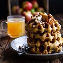 Overnight Cider Pumpkin Waffles w/Toasted Pecan Butter, Cider Syrup + Spiced Apples.