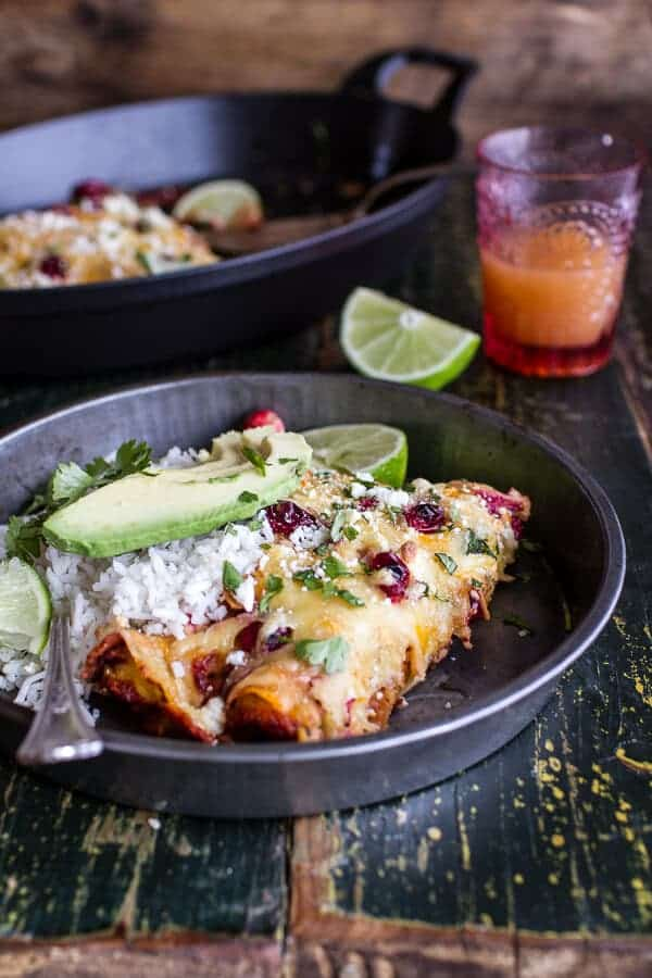 ... Roasted Chicken Enchiladas w/Fire Roasted Tomatillo-Cranberry Sauce