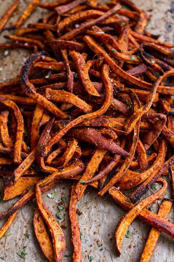 Skinny Tandoori Butter Sweet Potato Fries W Creamy Baked Harissa Feta Halfbakedharvest Com