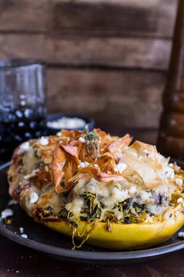 Spanakopita Stuffed Spaghetti Squash Bowls | halfbakedharvest.com @hbharvest