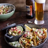 Spicy Cider Beer Braised Chicken Enchilada Tacos w-Sweet Chili Apple-Pomegranate Salsa-1