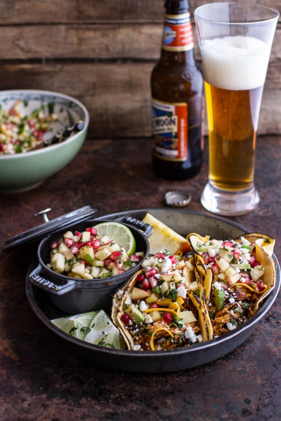 Spicy Cider Beer Braised Chicken Enchilada Tacos w-Sweet Chili Apple-Pomegranate Salsa-1