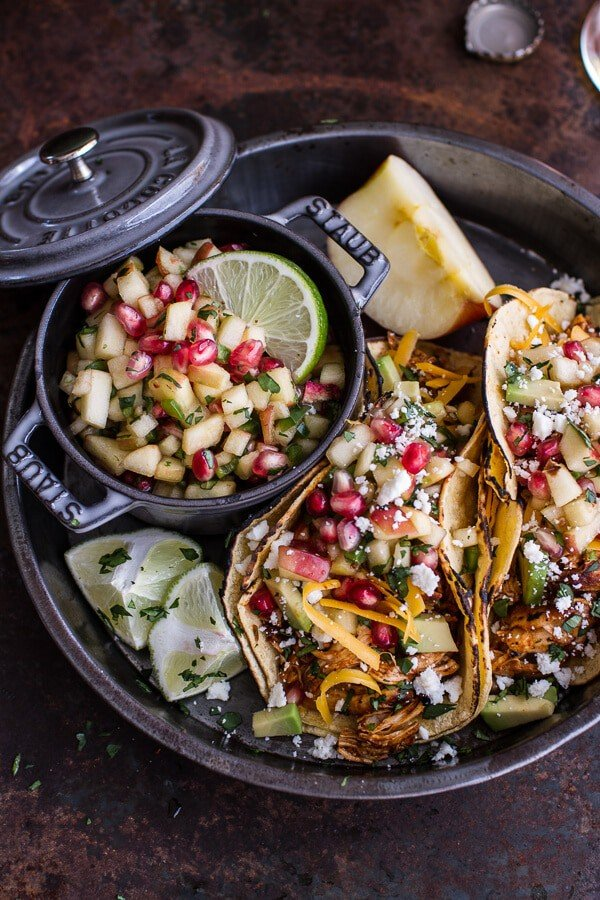Spicy Cider Beer Braised Chicken Enchilada Tacos | HBH
