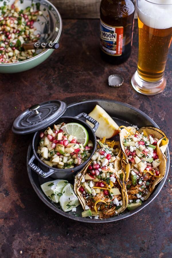 Spicy Cider Beer Braised Chicken Enchilada Tacos w-Sweet Chili Apple-Pomegranate Salsa | halfbakedharvest.com @hbharvest